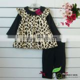 girls gold leopard animail printed t shirts+leggings Clothing sets baby outfits girls suits
