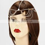 Multi Layers Rhinestone Crystal Wave Tassel Head Piece Sequined Hair Band Head Chain Jewelry