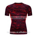 red men tight fit fast dry sports t shirts /jqi outdoor short sleeve basketball training jogging active t shrts/polyester tee