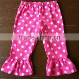 2015 Fall Childrens Ruffled Leggings Wholesale Cotton Baby Leggings For Pink Pants With White Polka Dots Ruffle Pants