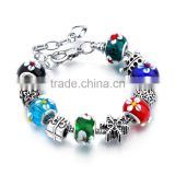 DIY 2017 European Charms Bracelet Murano Glass Crystal Beads Bangle