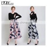 wholesales lastest design printed women palazzo pant 2015 winter cotton high waist casual pants
