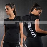 Women fitness quick-drying short-sleeve plain tank top clothes T-shirt