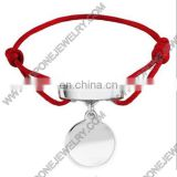 wholesale latest fashion design bracelet red string stainless steel jewelry engravable bracelet