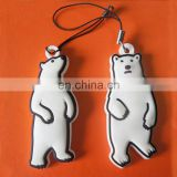 custom cute white bear shaped pvc mobile phone strap
