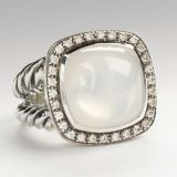 DY Sterling Silver 14mm Moon Quartz Moonlight Ice Ring for Women