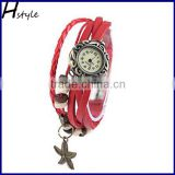 Charm Bracelet Leather Vintage Watch Lady Quartz Wrist Watch starfish Pendant Watch WP010