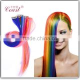 2015 New Fashion Ombre Clip In Hair Extensions Straight Gradient Colorful Hair Piece Cheap Synthetic Hair Pieces Multi-color