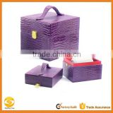 Purple Leather Jewelry Rings Watch Case Organizer Display 2 Levels Storage Box,jewelry travel case