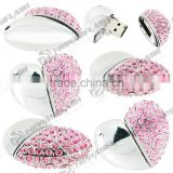 Wedding gifts pink jewelry crystal heart shape usb flash drive                                                                         Quality Choice