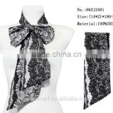 gentlewoman party clothing accessory fashion flower neck scarf lady bow chiffon tie lace scarf