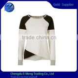 Wholesale 100% Cotton Blank Long Sleeve Contrast Color Woman T shirt