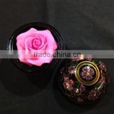 Thai carving soap Flower high quality Mango wood container / Plastic container with paint/silver nickel on top