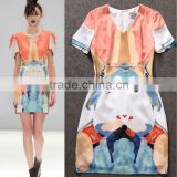 2014 New stylish dress abstract painting printed sexy deep v short sleeve for fashion women B17282