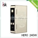 Hero 240W TC Stainless Steel Color Box Mod Temp Control Vape Ecig Mods 2016 Vapor Wholesale Electronic Cigarette