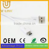 Hot sale slim usb to micro usb cable with nickel plated