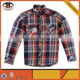 Wholesale Long Sleeve Red and Black Flannel Mens Plaid Shirt with OEM ODM