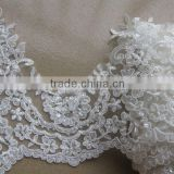 beaded and embroidered bridal satin lace trim/rhinstone trimmings/bridal veil trim/guipure trimming