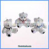 Wholesale New Arrival Cute Bow Tie Iridescent Crystal Bear Themed Necklace Pendant CPP-016