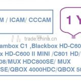 Sell annual renewal subscription icam/zcam/cccam for Streambox C1, Blackbox hd-C600/HD-C600 II Mini/C801 HD/ C608 Plus/C808/MUX
