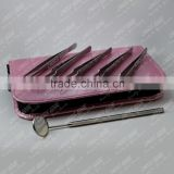 Eyelash Extension Tweezers And Mascara View Mirror Kit Packed In Soft Rexine Zipper Case. (ALL IN ONE)