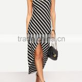 Women apparel stripe pattern round neck backless knit jersey maxi dress SY1615