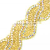 Fashion Handcrafted Gold Iron on Rhinestone Bead Sash Trim for Dress R2702F03