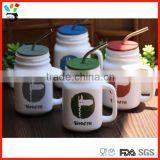 Simple Style 16oz Trendy Comfortable Great Gift 16oz Size Ceramic Mason Jar With Handle