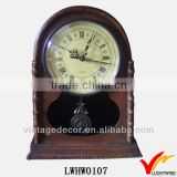 Alarm shabby retro table or wall antique wood clock