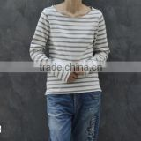 2014 summer latest long sleeve yarn dyed 100% cotton stripe t shirt scoop neck t shirt for lady