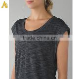 Womens Fashion Deep V Neck T Shirts Womens Tri-blend Tee Custom Printed Heather Gray Short Sleeve T Shirts