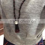 black bead long chain necklace