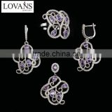 Pave Diamond Earrings Jewelry Box For Ring Necklace Bracelet Set Earring Amethyst JewelryTZ-0221