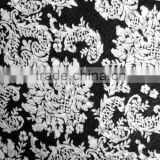 classical,comfortable graceful black and white matched floral knitted jacquard fabric polyester and cotton