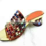 woman top fashion high heel leather slipper shoes with crystal stone sandals /Multicolor stone heels shoes YZ1212-1