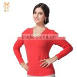Women Pure Cashmere Knit Sweater, Red Mongolian Delicate Neck Pullover