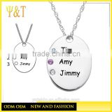 Jingli Jewelry factory direct personalized rehinestone hand stamp name necklaces,diy name necklaces(QD-006)