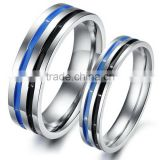 Black and blue enamel stainless steel couple ring Titanium Couple engagement wedding rings