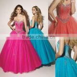 Free shipping sweetheart appliqued beaded ball gown custom-made fuschia Quinceanera dresses CWFab4256