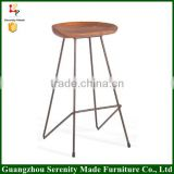 2016 Hot sale modern design furniture wooden bar stool high chair supplier with metal base