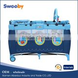 Portable baby crib bed, baby travel playard with toy bar