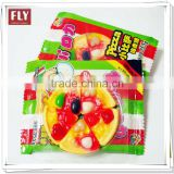 Fruity assorted handicraft design sweet pizza gummy candy