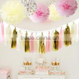 Tissue Pompom Balls Paper Tassels and Garland Tassel Garlands for Baby Shower Decoration Bridal Shower Pink Gold First Birthday