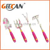 4pcs kids garden tools set floral printing shovel,rake,fork with plastic handle