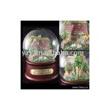 Beautiful house water ball music box with 18-note music movement