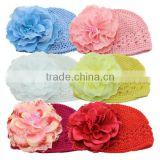 fashion cheap fancy baby crochet hat with pretty flower