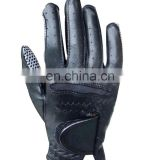 Logo printed black cabretta leather golf gloves