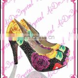 Aidocrystal gold and purple flowers red bottom shoes genuine leather medium heel party high heels
