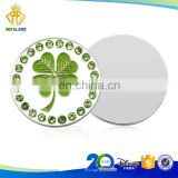 High Quality Cloverleaf Shamrock Golf Ball Markers with Crystals