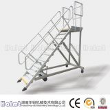 The Industrial Aluminum Liftable Platform Ladder with Wheels